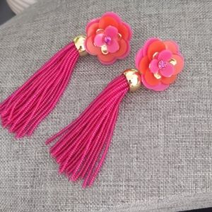 2/$10 Magenta Red/Orange Gold Statement Earrings